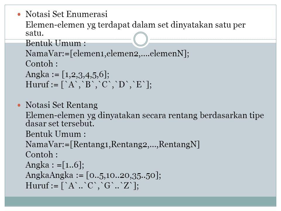 Notasi Set Enumerasi Elemen-elemen yg terdapat dalam set dinyatakan satu per satu. Bentuk Umum : NamaVar:=[elemen1,elemen2,….elemenN];